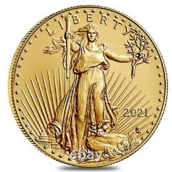 Roll of 50 2021 1/10 oz Gold American Eagle $5 Coin BU Type 2 Lot, Tube of