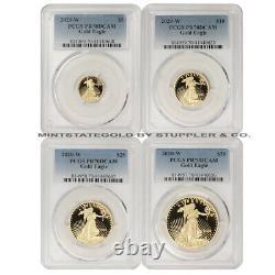 Set of 4 2020-W Gold Eagle PCGS PR70DCAM Deep Cameo Proof American Eagles