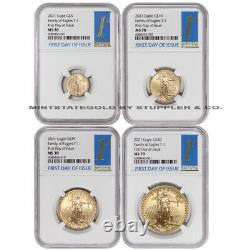 Set of 4 2021 Gold Eagles NGC MS70 First Day of Issue FDOI American Eagle Type 1