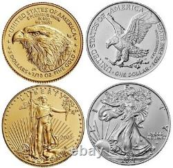 Type 2 2021 1/10 oz. American Gold Eagle BU & 1 oz American Silver Eagle BU