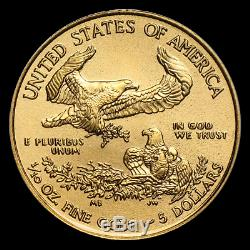 (lot Of 10 For One Bid) Ch/gem Bu 2020 1/10th Oz. $5 American Eagle Gold Coin