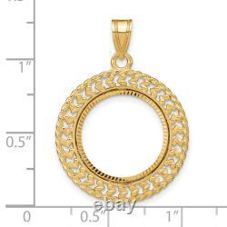 1/10 Oz American Eagle Diamond-cut Prong Set Lunette De Monnaie Avec Double Bordure