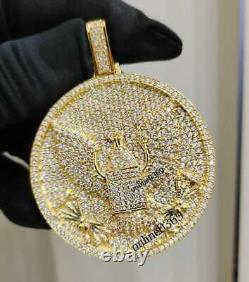 1.18 Ct Round Sim Diamond Homme Flying Bird Pendant Free Stud 14k Yellow Gold Fn