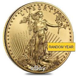 1/2 Oz D'or American Eagle 25 $ Coin Bu (random Année)