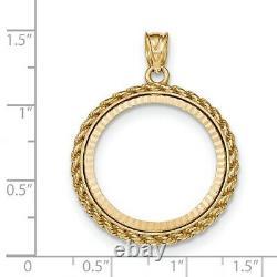 1/4 Oz American Eagle Diamond-cut Prong Set Lunette De Monnaie Avec Bordure De Corde