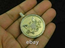 1.80 Ct Diamond 14k Or Jaune Sur Pendentif De Charme De Médaillon D'aigle Américain