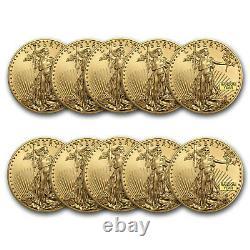1 Oz American Gold Eagle 50 $ Pièce Bu Année Aléatoire Monnaie Américaine Lot De 10