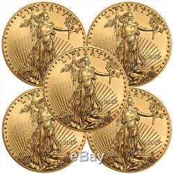 1 Oz D'or American Eagle Aléatoire Date Us Mint Coin Lot De 5