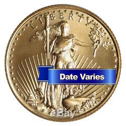 10 $ Américain Gold Eagle 1/4 Oz Brillant Uncirculated Aléatoire Année