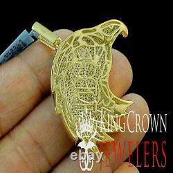 10k Or Jaune Silver Lab Diamond American Eagle Bird Pendentif Hommes Pave Charm
