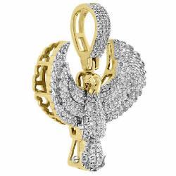 10k Yellow Gold Over Diamond Us Flying Eagle Pendentif 1.20 Unisex Charm 2.63 Ct