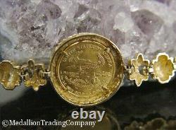 14k 22k Gold 2000 Liberty American Eagle 5 $ Pièce Grecque Clé Fleur DI Lis Bracelet