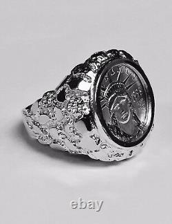 14k Bague En Or Blanc Nugget Coin Homme Avec 1/10 Oz Platinum American Eagle Coin