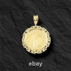 14k Cadre En Or Jaune Byzantine Pendant Pour 1/2 Oz Us Eagle Coin