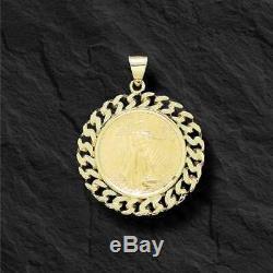 14k Chaîne Curb Or Jaune Lien Cadre Pendentif 1/2 Oz Aigle Américain American Coin