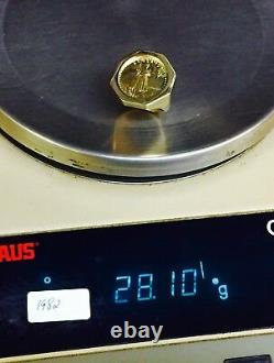 14k Gold Homme 27 MM Roin Ring Avec Un 22 K 1/4 Oz American Eagle Coin