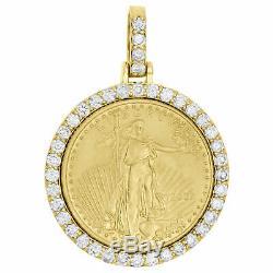14k Jaune Or Sur American Eagle Liberté Pièce De Monnaie De Diamant De Montage Suspendu 3 Ct
