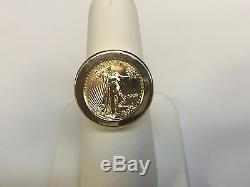 14k Or 20 MM Anneau Coin Hommes Avec 22 K 1/10 Oz American Eagle Coin