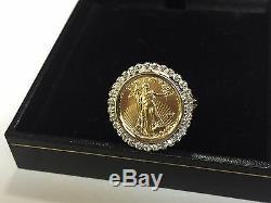 14k Or 21 MM Anneau Coin Avec 22k 1/10 Oz American Eagle Avec Coin. 25 Tcw