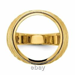 14k Or Jaune 1/10oz American Eagle Polished Coin Ring (coin Non Inclus) Cr1
