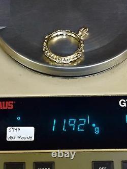 14k Or Jaune Byzantine Cadre Pendentif Pour 1 Oz Aigle Américain American Coin