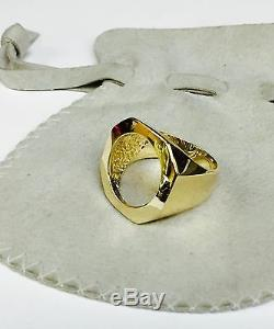 14k Or Jaune Hommes Coin Ring Pour 1/10 Oz American Eagle Coin-montage Seulement