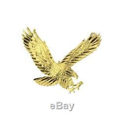 14k Solide Réel Diamants En Or Jaune Coupés En Petits Morceaux De Vol American Eagle Pendentif Charm
