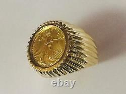 14k Yellow Gold Homme 21 MM Coin Ring Avec Un 22 K 1/0 Oz American Eagle Coin