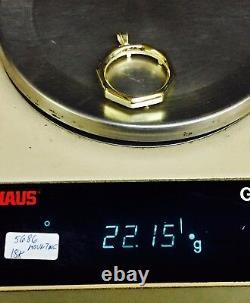 18k Pendentif De Pièce En Or Jaune 18k Montage Seulement Pour 1 Oz Us American Eagle Coin