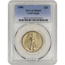 1986 Américaine Gold Eagle (1/2 Oz) 25 $ Pcgs Ms69