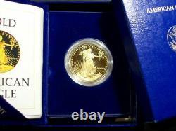 1986 American Gold Eagle Proof 1 Oz. Caméo Profond Avec Boîte & Coa