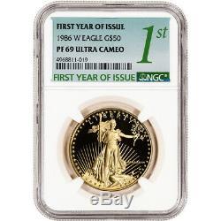 1986-w Américaine Gold Eagle Proof 1 Oz 50 $ Ngc Pf69 Ucam Première Année D'émission Étiquette