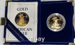 1986-w Preuve 1 Oz American Gold Eagle 50 $ Pièce Proof Gem Zero Flaws Dcameo Avec Coa