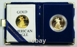 1986-w Proof 1 Oz American Gold Eagle 50 $ Pièce Avec Box & Coa