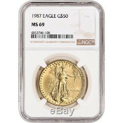 1987 Américaine Gold Eagle 1 Oz 50 $ Ngc Ms69