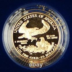 1987 Eagle Gold Bullion One Ounce & Half Ounce Pièces De Preuve Avec Boîte Et Set Coa