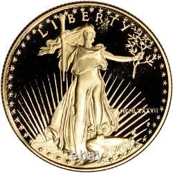 1987-p American Gold Eagle Proof 1/2 Oz 25 $ Pièce En Capsule