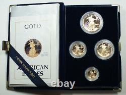 1988 American Eagle Gold Proof 4 Coin Set Age En Boîte Avec Les Chiffres Romains Coa