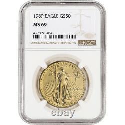 1989 American Gold Eagle (1 Oz) 50 $ Mbac Ms69