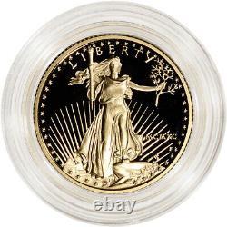 1990-p American Gold Eagle Proof 1/4 Oz 10 $ De Pièce En Capsule