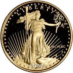 1990-p Preuve Américaine Gold Eagle (1/4 Oz) 10 $ Ogp