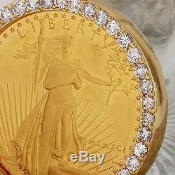 1991 1 Oz D'or American Eagle Bu (mcmxci) Et 2.80ct Diamant Pendentif Pièce 48g