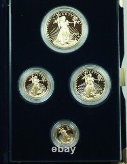1992 American Eagle Gold Proof 4 Coin Set Age In Box Avec Coa