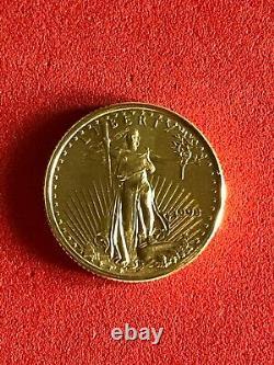 1993 American Gold Eagle 1/10 Oz Brillant Uncirculé Authentique $5 Gold Coin
