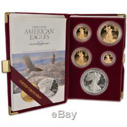 1995-w American Eagle 10e Anniversaire D'or Et D'argent Set Proof