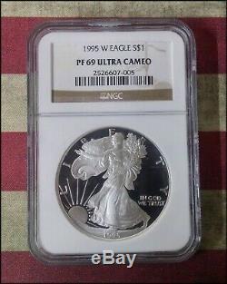 1995-w Silver Proof American Eagle Pf-69 Ngc Ultra Cameo Rares! Bino