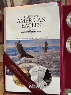 1995w Proof American Gold Eagle 5 Pièces Set Mint Box, Coa, Gold Foil No Silver Coin