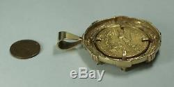 1997 Gold Eagle 1 Oz 50 $ Age Coin Diamant Lourd Vintage 14k Bezel Pendentif