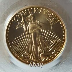 2002 10 $ 1/4 Oz American Gold Eagle Ms69 Pcgs Clear Non Touché Rare Valuable