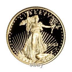 2003-w American Gold Eagle Proof (1/10 Oz) 5 $ En Ogp